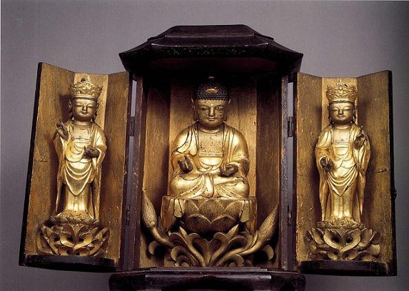 木造阿弥陀三尊仏龕 (もくぞうあみださんぞんぶつがん) 朝鮮時代 康煕28(1689)年