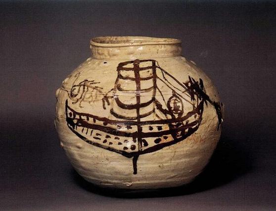 鉄砂帆船魚文壺(てっしゃはんせんぎょもんこ)朝鮮時代19~20世紀